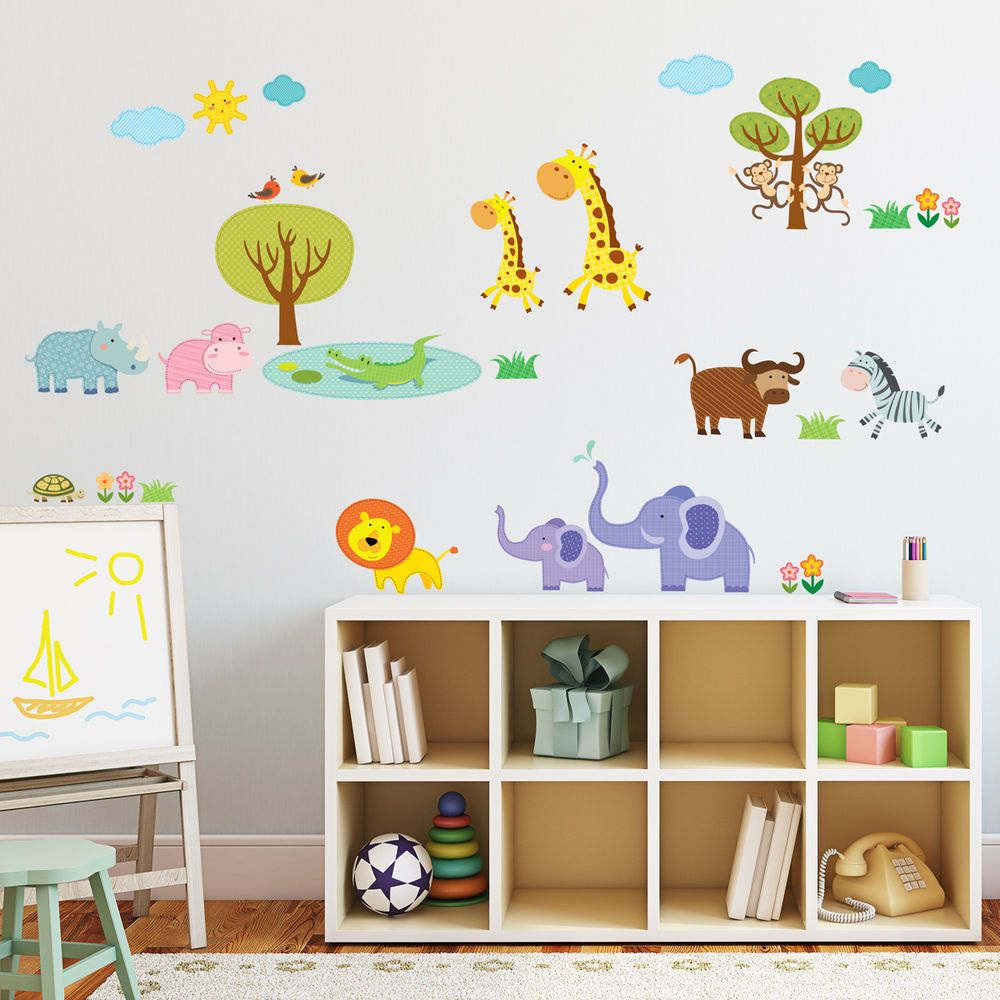 Decowall, DW-1508, Patched Jungle Wall Stickers Vinyl Nursery Arts ...