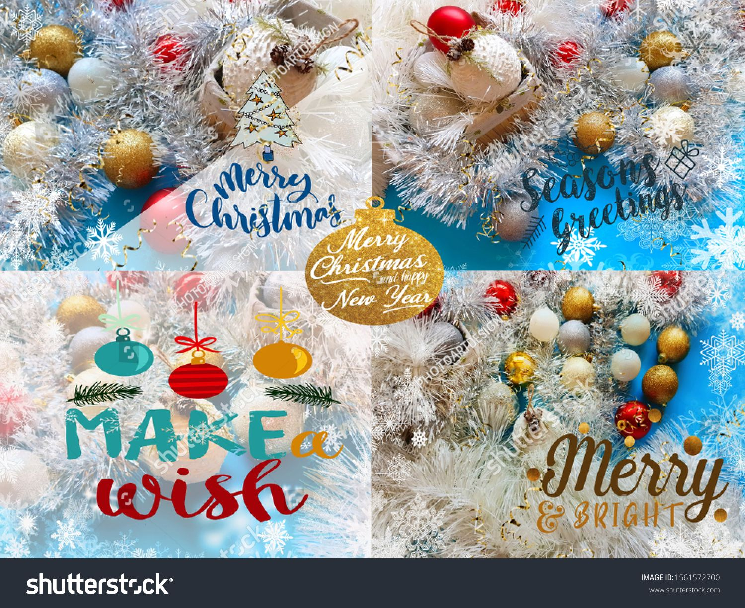 White Snowflakes And Red Gold White Christmas Tree Balls On Blue Background Greetings Card Colla Christmas Collage Christmas Stock Photos Gold Tree Decorations
