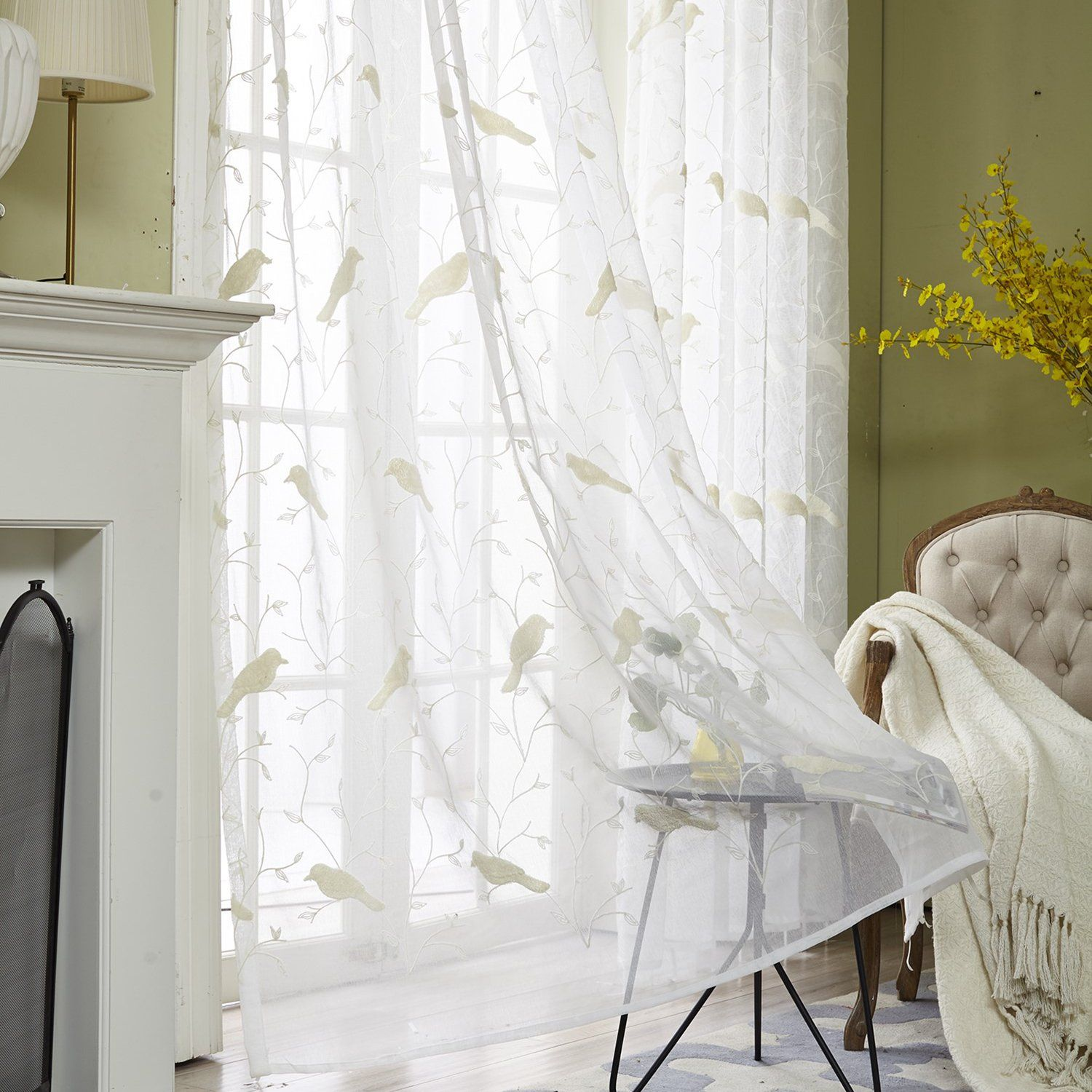 VOGOL Faux Linen Sheer Curtains Embroidered Bird Design Off White ...
