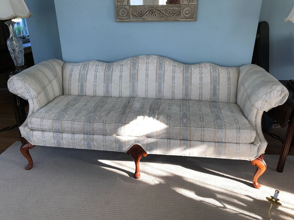 Beautiful Ivory And Light Blue Stripe Upholstered Sofa And Sitting Chair Set Great Condition Ebay French Sofa Upholstered Sofa Sofa