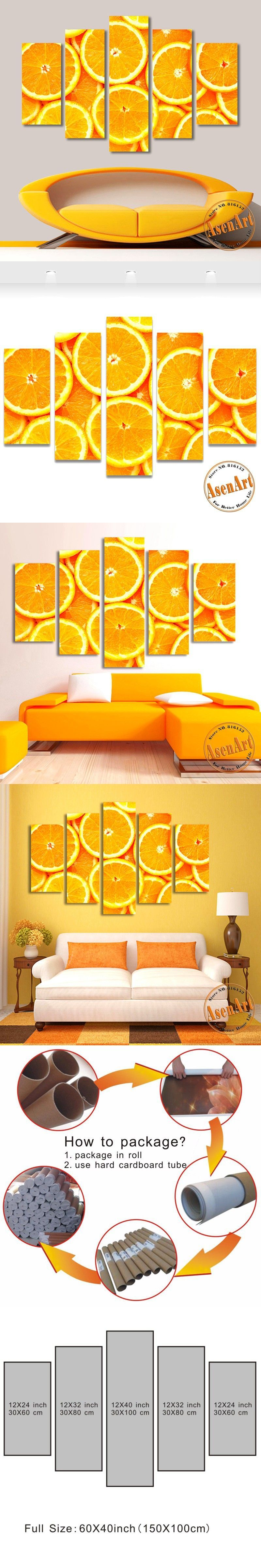 5 Panel Wall Art Orange Paintings Fruit Picture to Print on Canvas ...