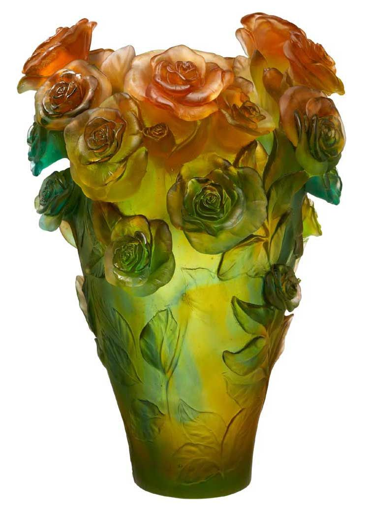 Daum Crystal Rose Passion Magnum Vase Green Orange Limited