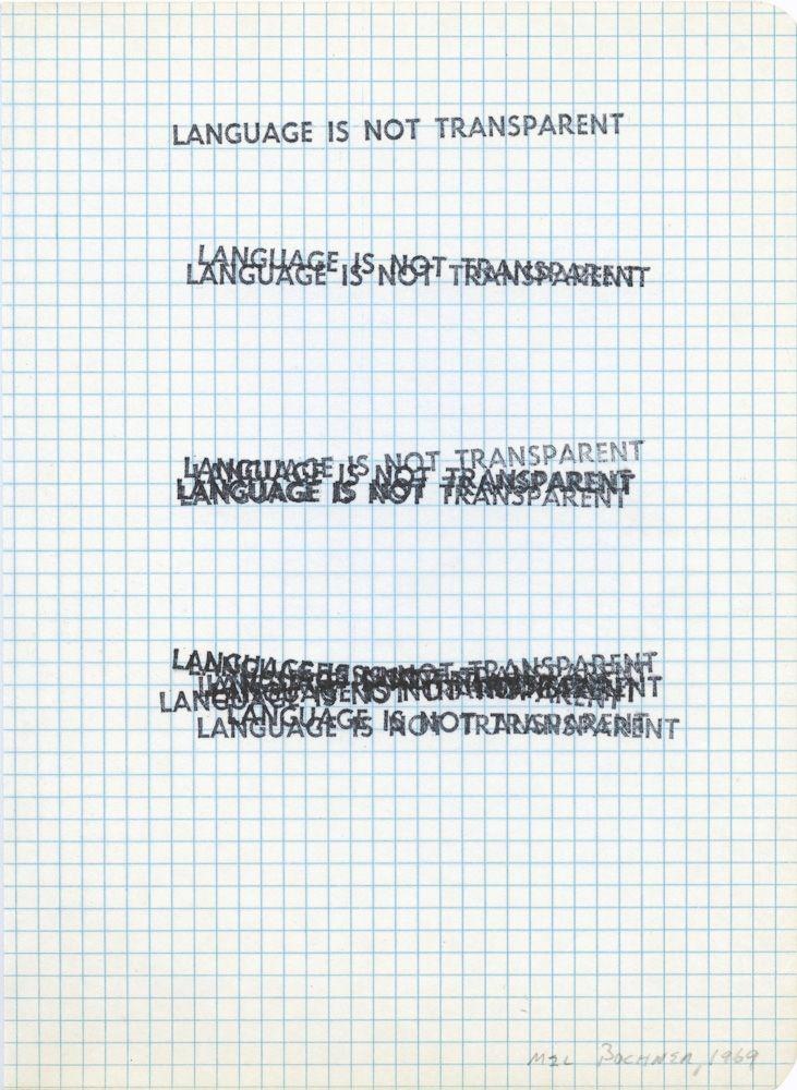 Mel Bochner - Language Is Not Transparent, 1969 Mel Bochner - print graph paper word