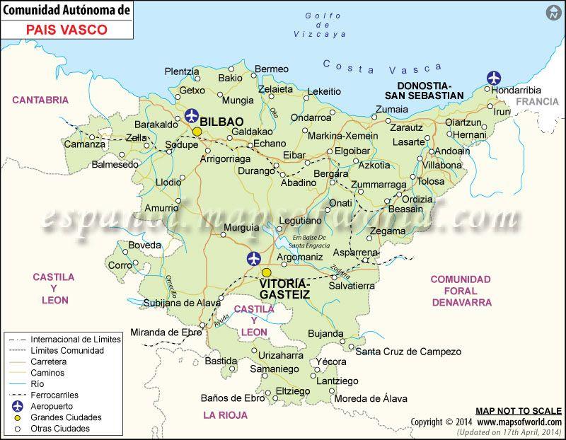Mapa Pais Vasco Mapa De Pais Vasco Espana Mapa Pais Vasco