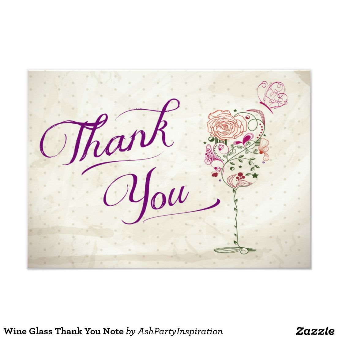 Wine Glass Thank You Note Card  Wine Note And Cards
