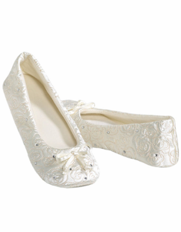 CLEARANCE Cushioned Ballet Slippers With Rhinestone Accents In White Ivory Or Black