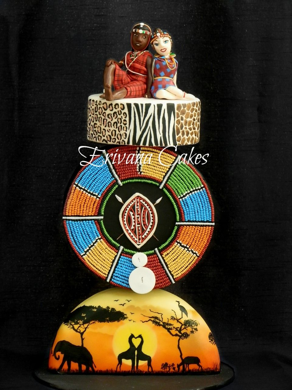 Beautiful Gravity Defying African Themed Cake African