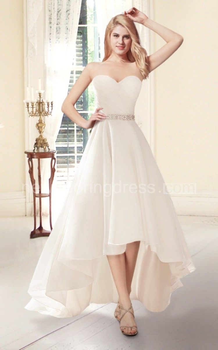 Sweetheart highlow organza wedding dress wedding pinterest