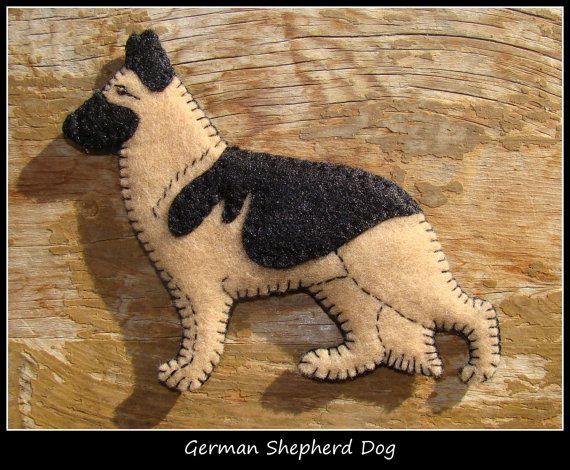 German Shepherd Dog Ornament Magnet By Justsue On Etsy Felt Dog