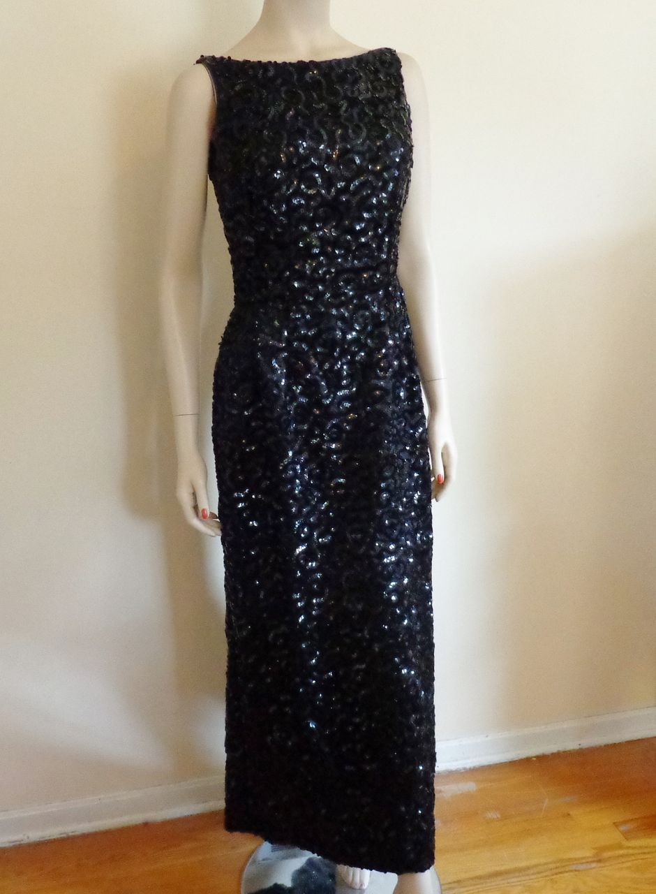 Emma Domb Black Sequin Evening Gown Dress Vintage 1960's Bombshell  $250  http://www.rubylane.com/item/676693-CL123/Emma-Domb-Black-Sequin-Evening-Gown