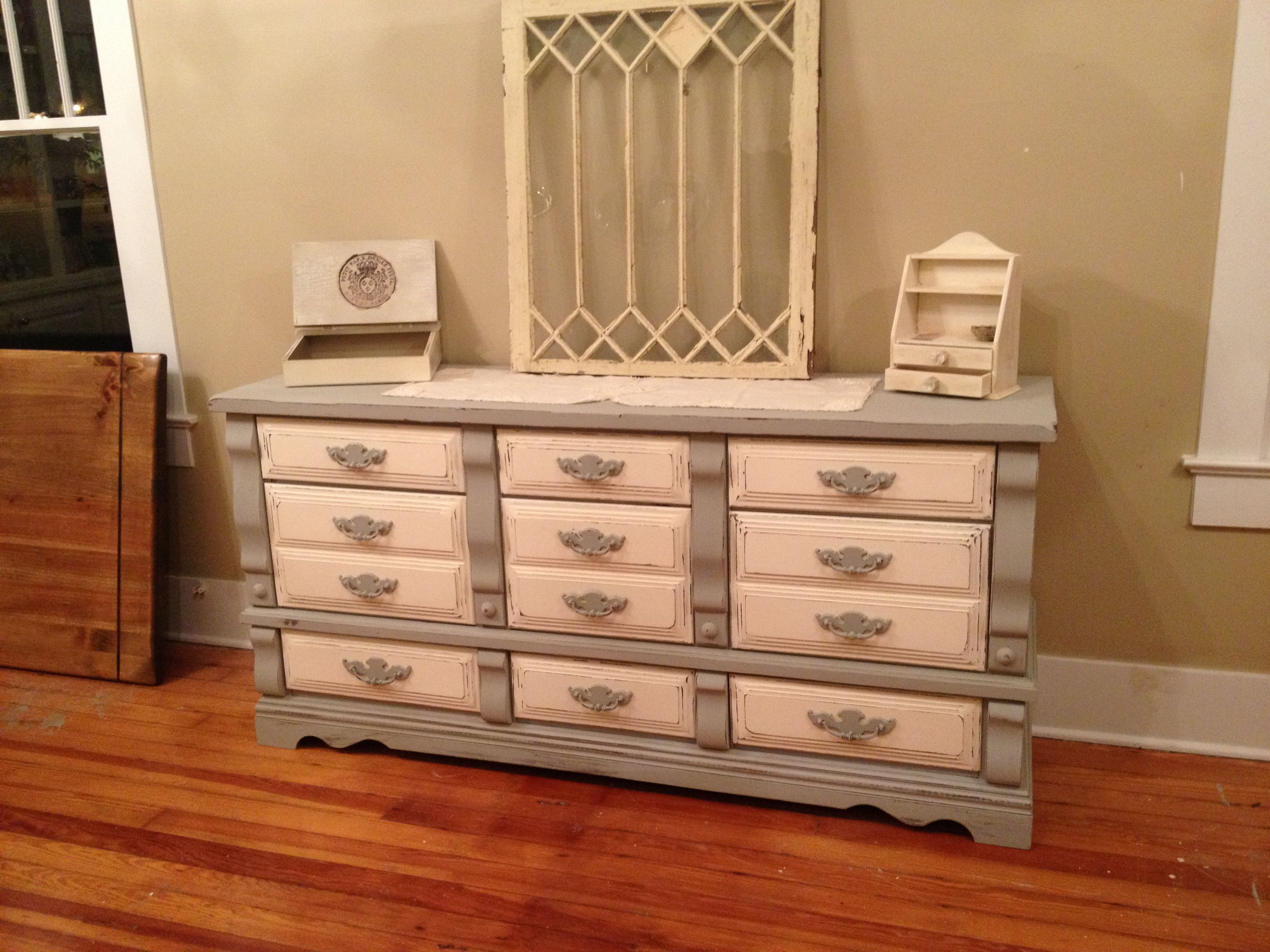 Grey and white distressed dresser $425