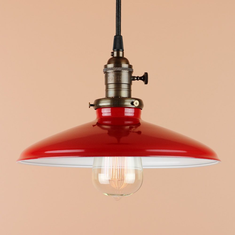 Pendant Lighting w/ 10 inch Cherry Red Porcelain Enamel Finish - Oil Rubbed  Bronze Finish or Satin Nickel