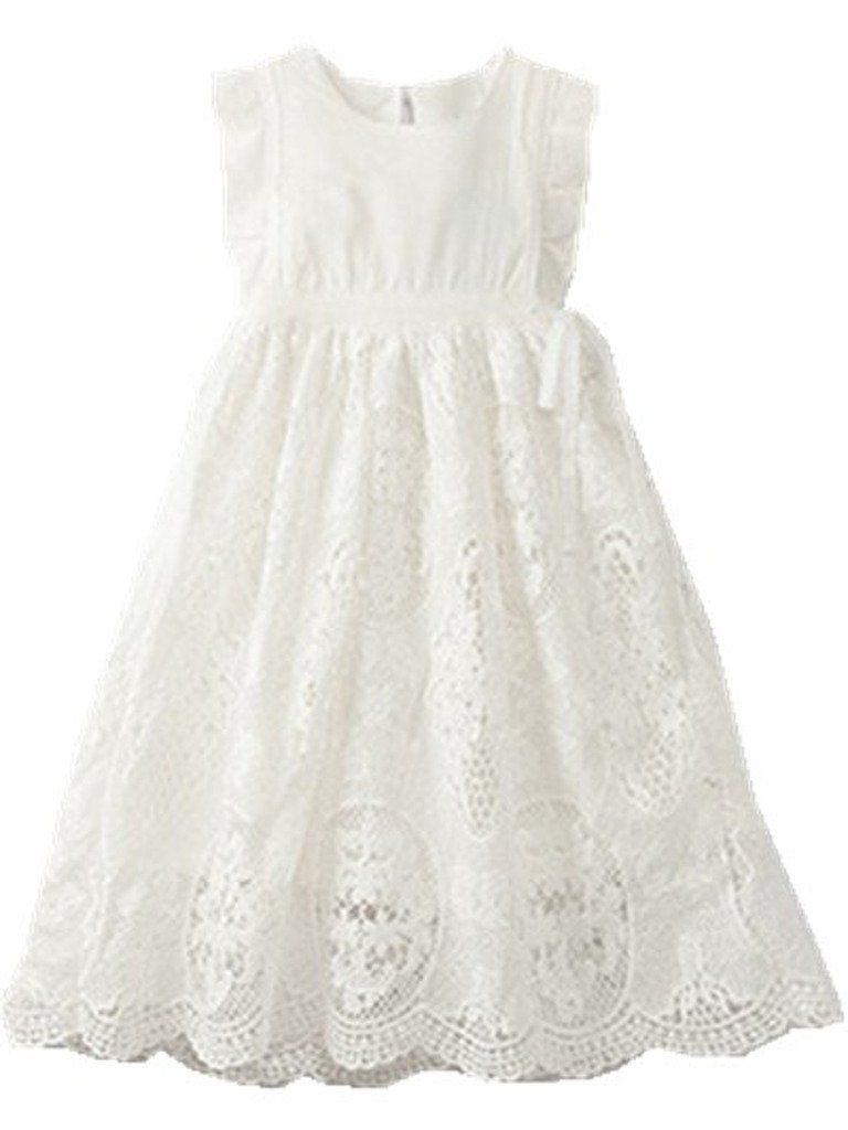 4187c7f83 Bow Dream Flower Girl's Dress Vintage Lace Off White 4 | Wedding ...