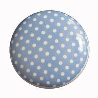 Kastknopje polkadots blauw