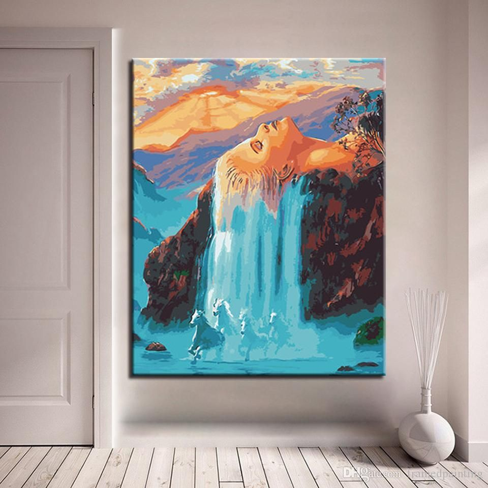 2019 Hand Paint Oil Painting By Numbers White Hair Waterfall Colorful Oil Painting Canvas Drawings Famous Landscape Paintings