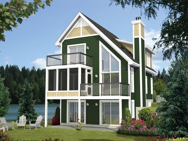 Narrow  Lot  Home  Plan  Rear 072H 0209 Narrow  lot  house