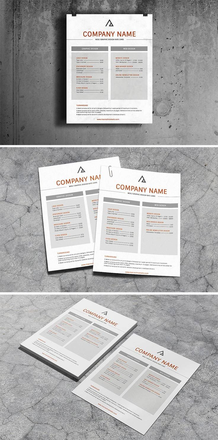 Free Graphic Design Rate Card PSD Template by macrochromatic – Rate Card Template