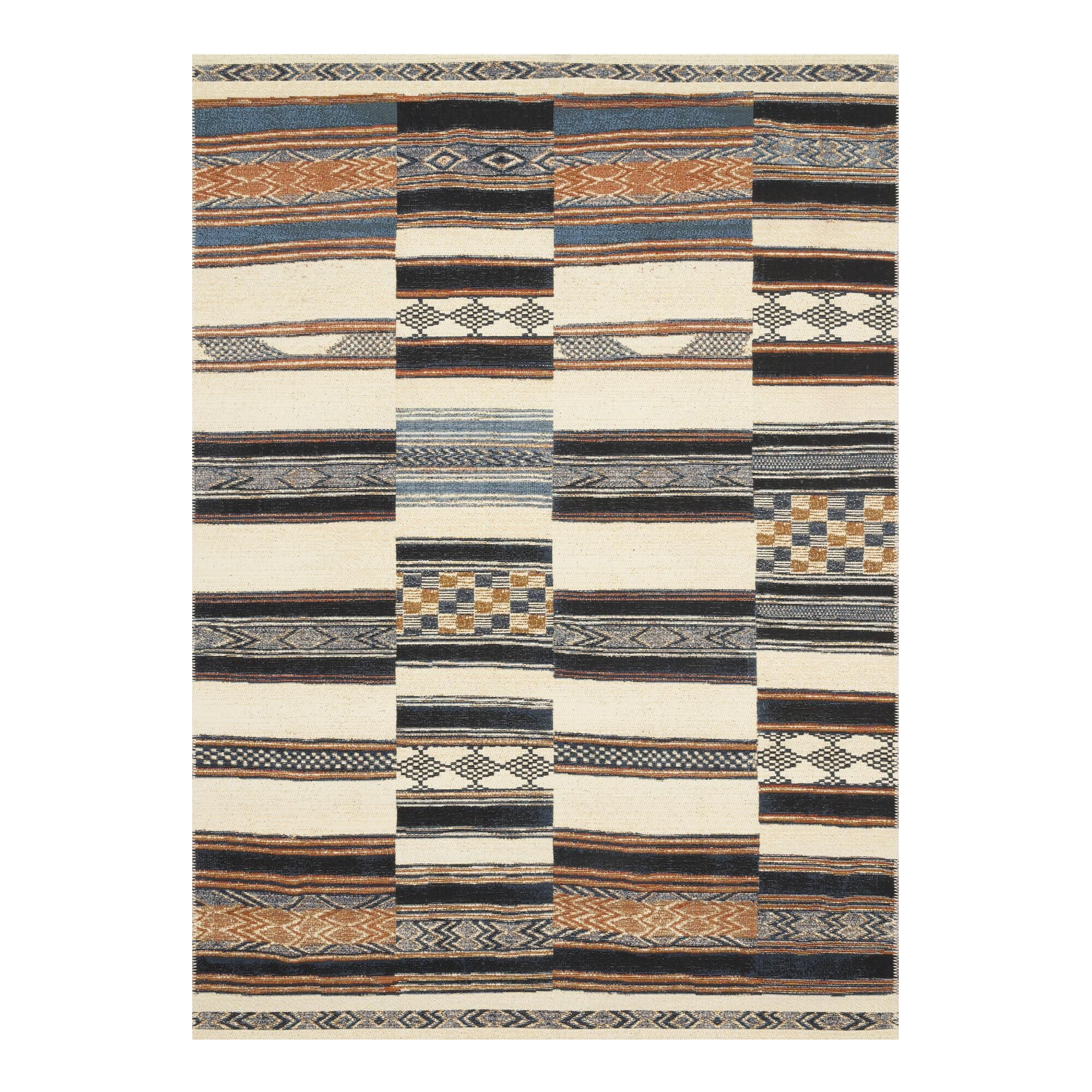 Rust And Navy Uneven Stripe Zanzibar Indoor Outdoor Rug In 2020 Black Area Rugs Outdoor Carpet Loloi Rugs