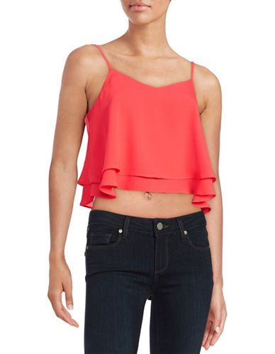 88dd3ade7d7 Design Lab Lord & Taylor Cropped Ruffled Tank Top Women's Coral X-Smal