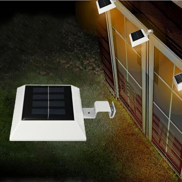 10 Solar Powered 4 Led Fence Gutter Light Outdoor Yard Wall Pathway
