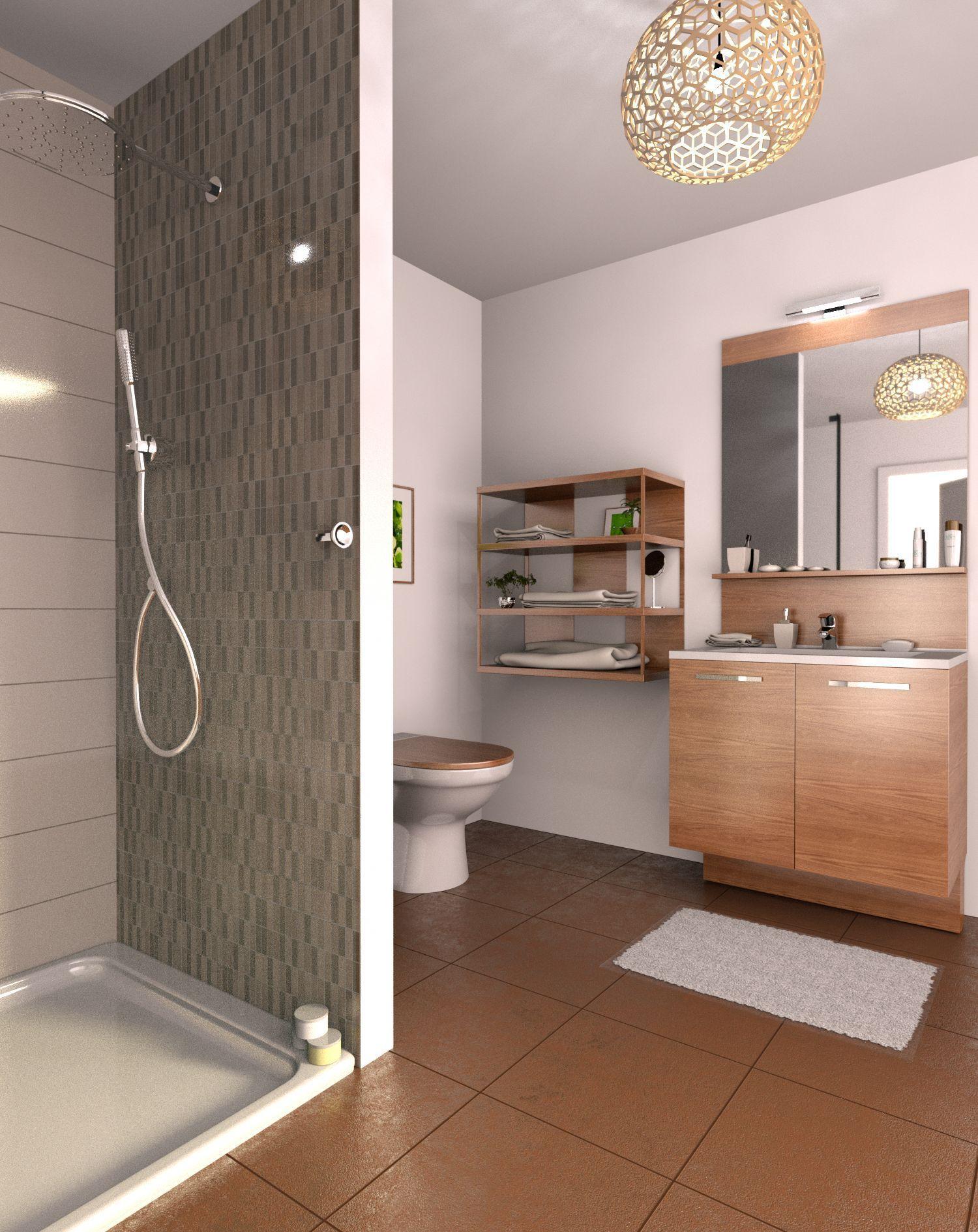 Salle de bain avec douche en céramique - image produite avec Cedar ...