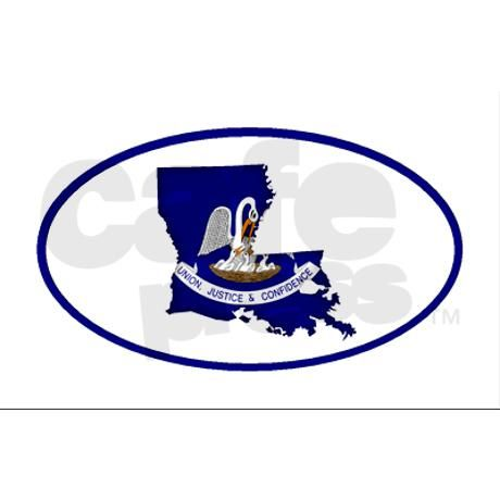 Louisiana flag map Oval Sticker by stixtar
