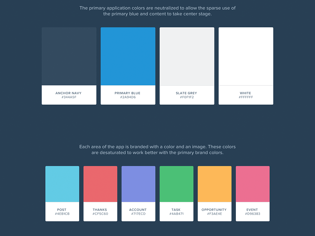 The style guide for Salesforce1 defines the color palette ...