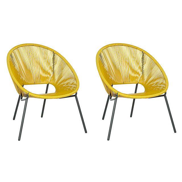 House by John Lewis Salsa Garden Chair, Set of 2, Saffron