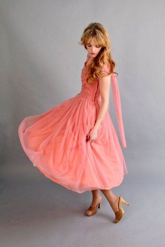 reserved / 1940s 1950s coral pink prom dress // 40s 50s prom dress ...
