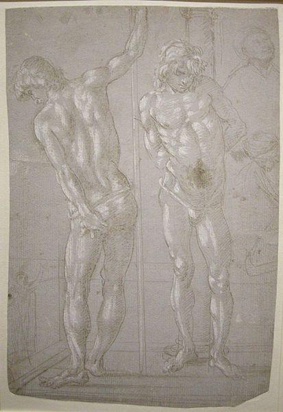 Filippino Lippi - Studio per Cristo alla colonna e altre figure - 1482 circa - Jean Paul Getty Museum, Los Angeles