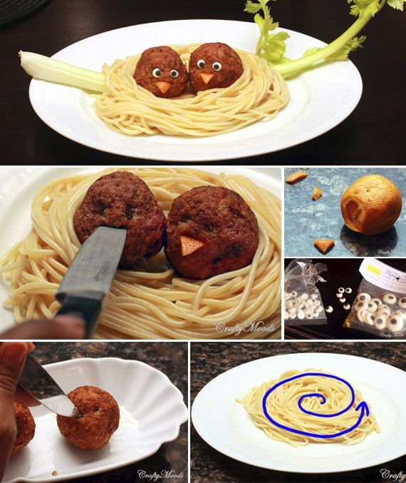 PASTA NEST! {Fun Foods for Kids}  Things you will need: ● Cooked spaghetti (our nest)  ● Cooked meatballs (our birds) ● Candy eyes from craft stores or baking supply stores ● 1 Carrot or orange peel (our bird's beak) ● Sharp pointy knife   See more at craftymoods.com: http://www.craftymoods.com/2011/01/fun-foods-for-kids-pasta-nest.html#.Uo1EZMSVMkA