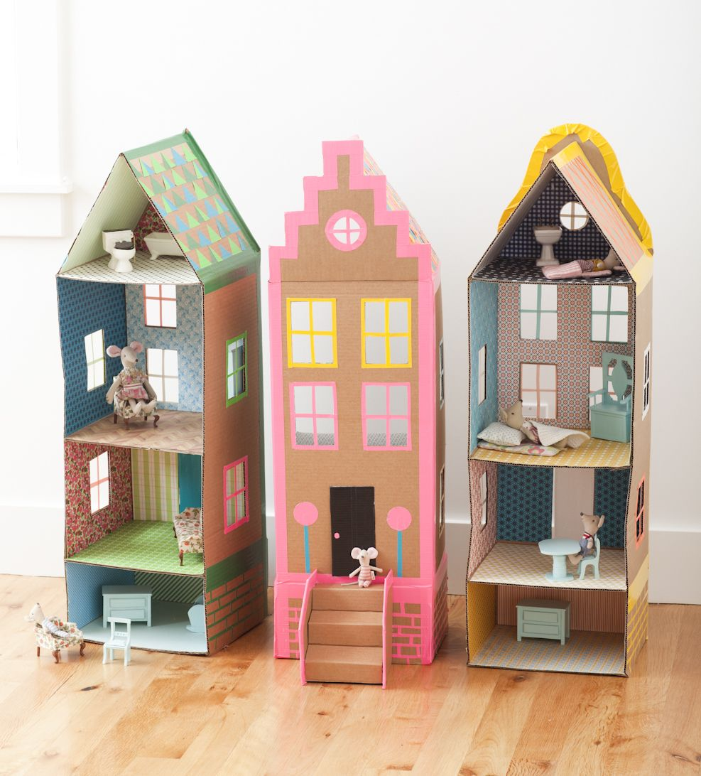 Cardboard brownstone dollhouses from playful mer mag for How to make a house from cardboard box