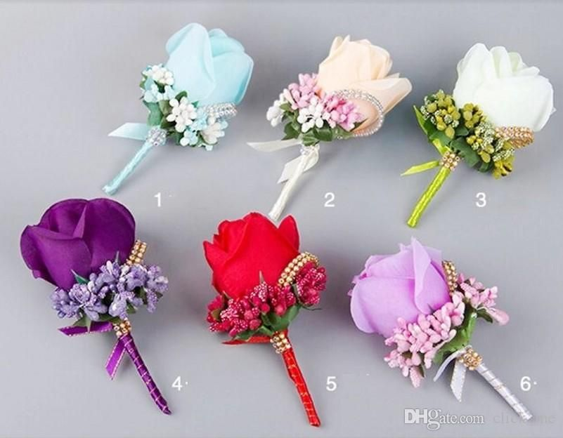 Artificial Flower Wedding Bridal Bouquets Beads Bridesmaid Groomsman Corsage Lavender Red Pink Purple White Blue Champagne