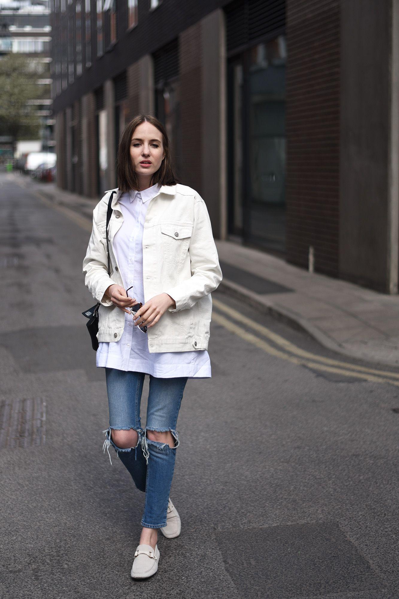 1337ca5459b oversized white denim jacket   oversized white button up   ripped denim  skinnies
