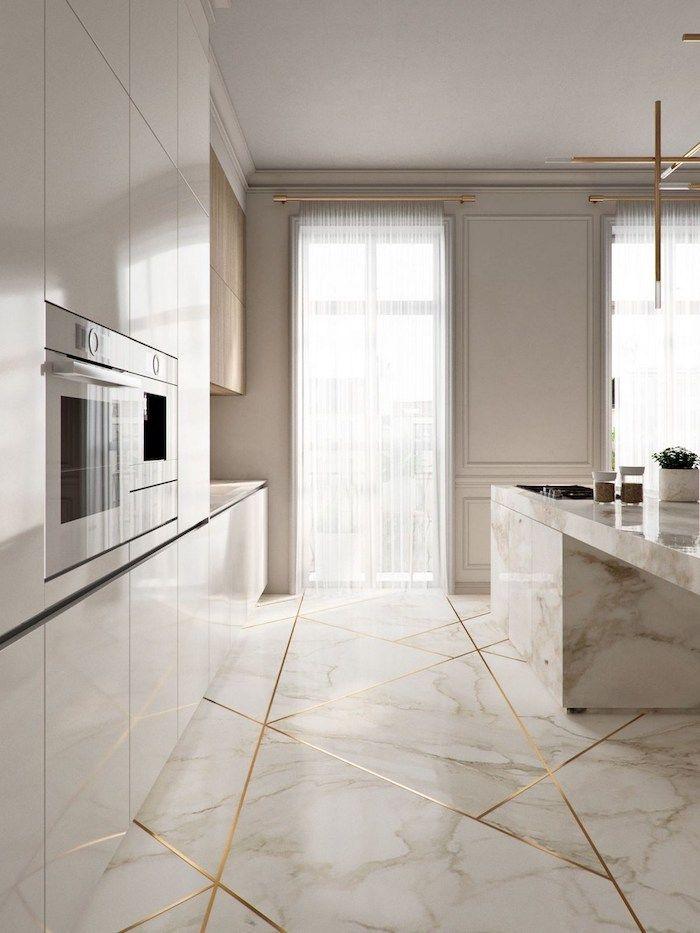 Download Wallpaper White Marble Floor Kitchen Ideas