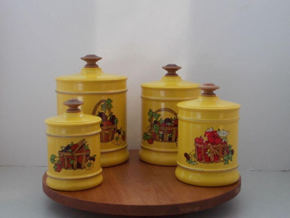 kromex 70 s retro yellow strawberries cherries aluminum kitchen set