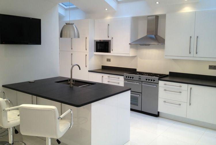 schiefer arbeitsplatte weiß modern einrichtung beleuchtng schwarze - nobilia küchen arbeitsplatten