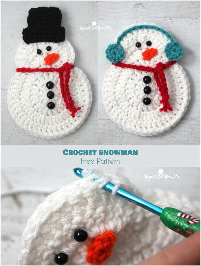 Crochet Snowman Christmas Crochet Patterns Crochet Snowman Crochet Ornament Patterns