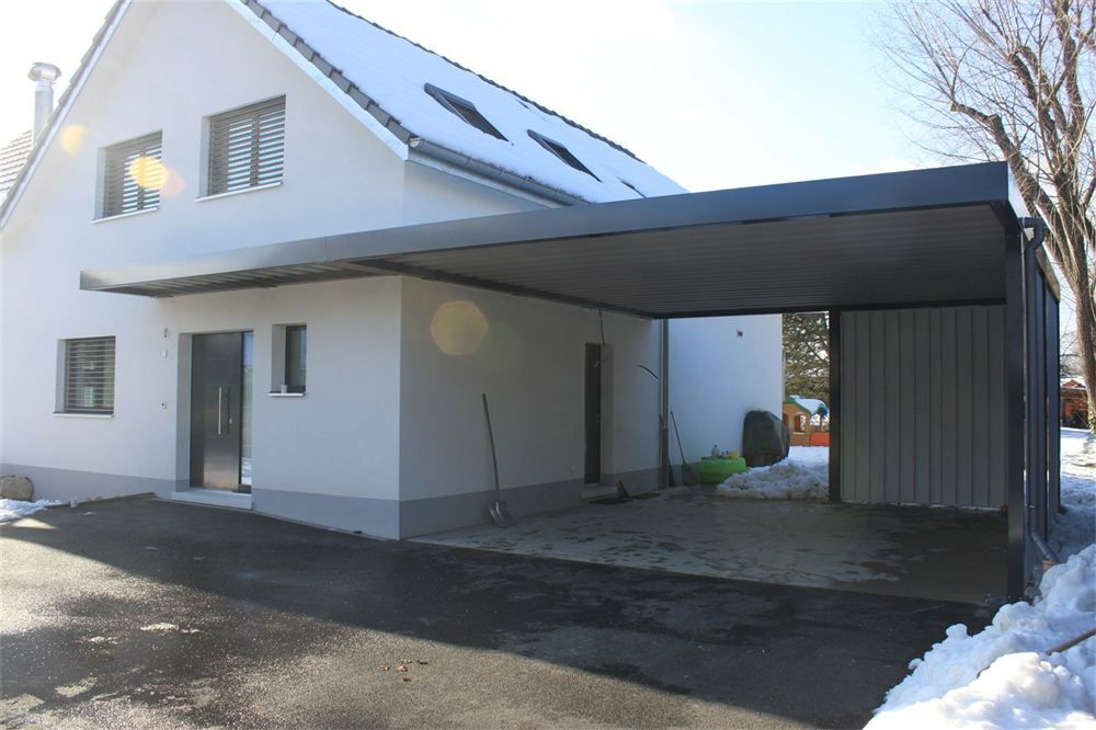 Carport vordach ohne pfeiler h user pinterest for Modernes walmdachhaus