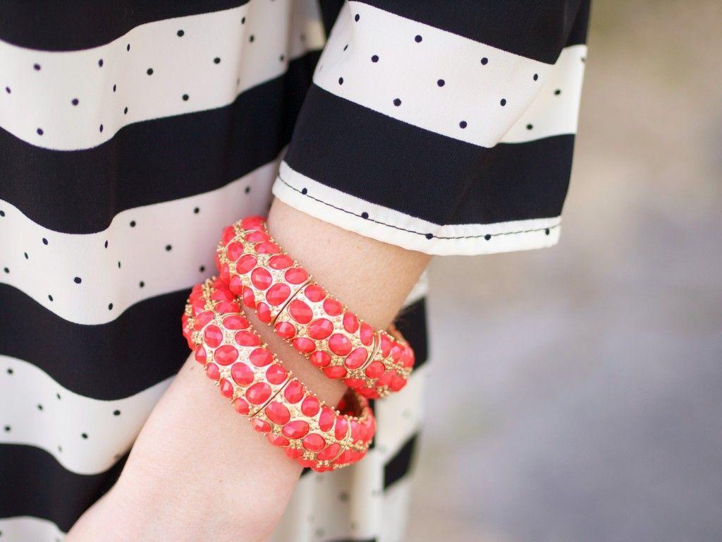coral stone stretch bracelets $20 each