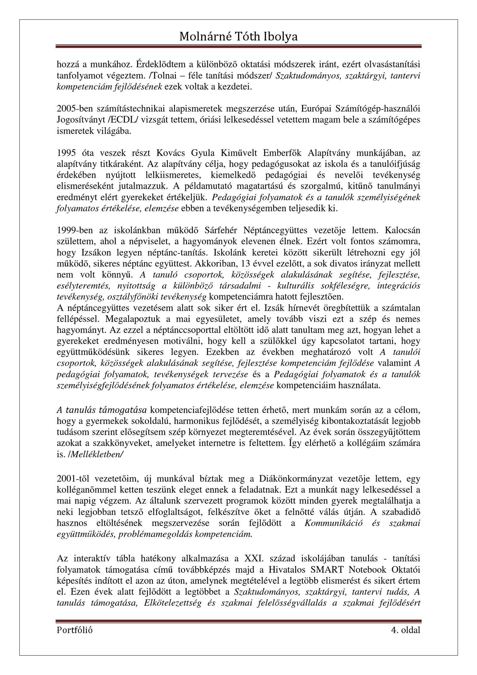 önéletrajz pedagógus portfólióhoz Molnárné Tóth Ibolya Szakmai önéletrajz | PDF Flipbook | Pedagógus  önéletrajz pedagógus portfólióhoz