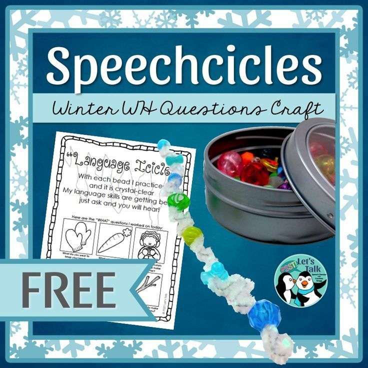 FREE sample pages for icicle craft targeting WH questions Great