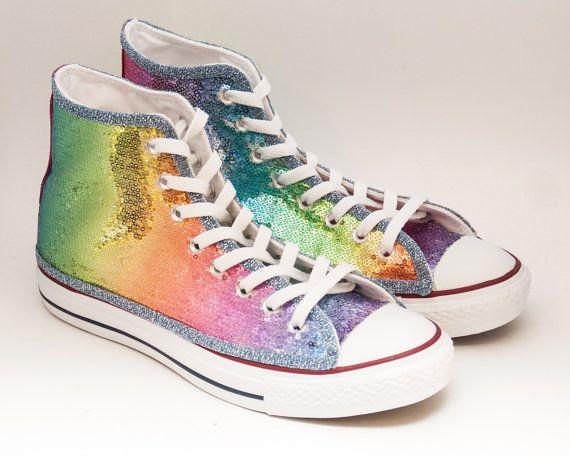 651a15d522167 Rainbow Multi Color Starlight Sequin Converse® Hi Top Sneakers in ...