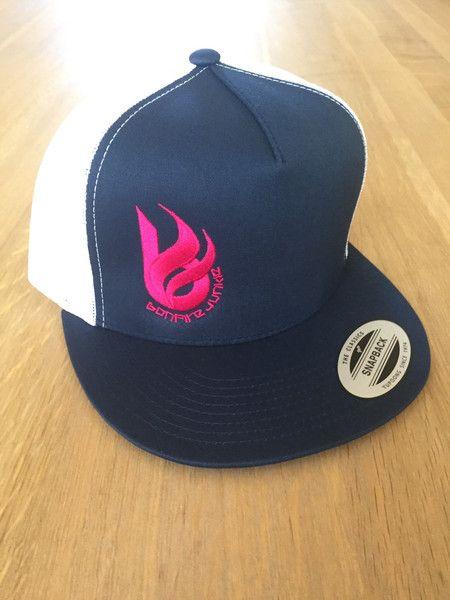 'B on fire' trucker hat - navy/white, hot pink #pinktober