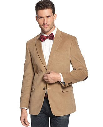 4f986f1be0b3f Tommy Hilfiger Jacket, Solid Corduroy with Elbow Patches Trim Fit - Blazers  & Sport Coats - Men - Macy's