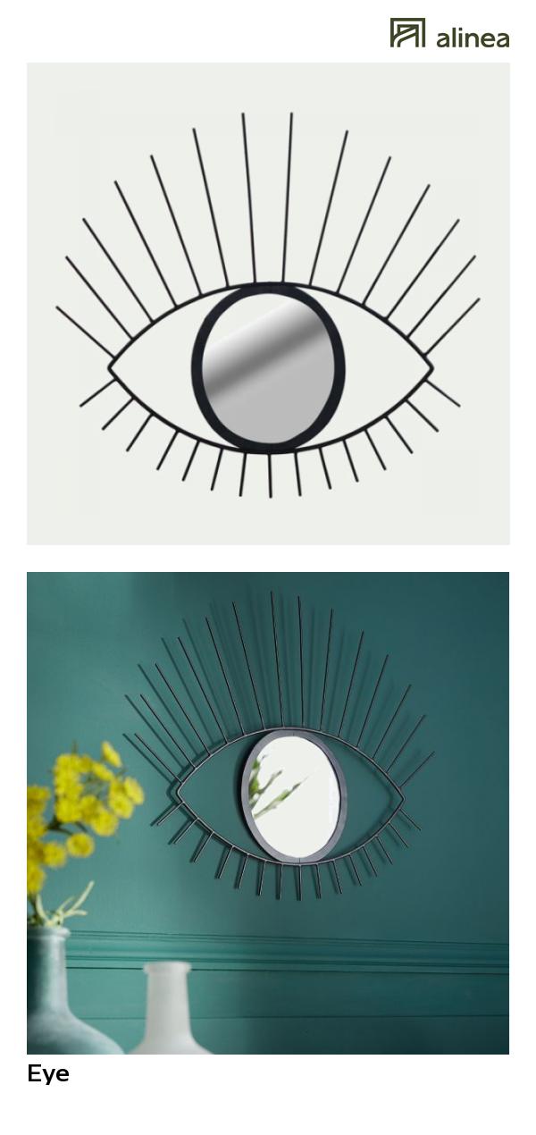 alinea : eye miroir mural en forme d\'œil en métal noir h51cm déco ...