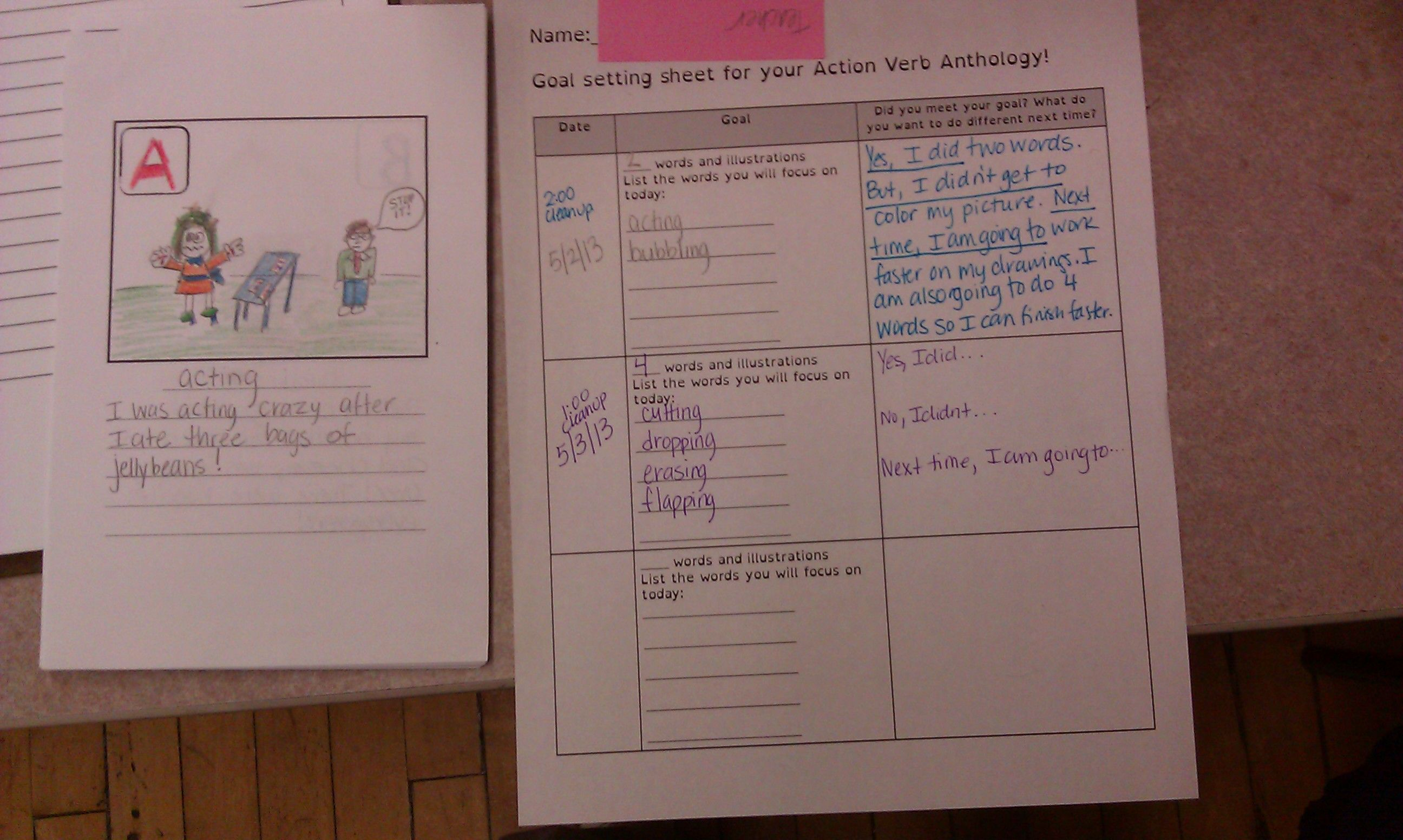 Special Ed Vocabulary Activity Make An Abc Book Of Action Verbs Teacher Samples Displayed Here