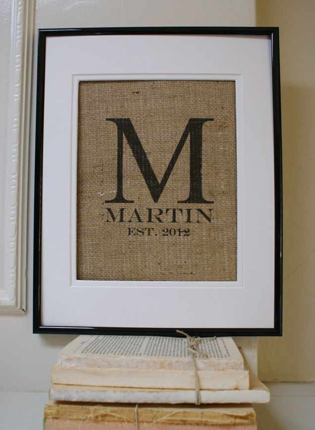 burlap + monogram. i just love burlap
