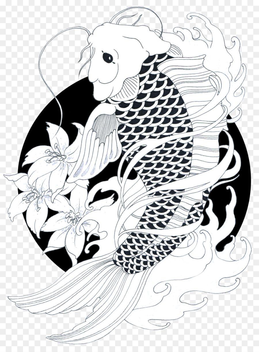 all black koi fish drawing