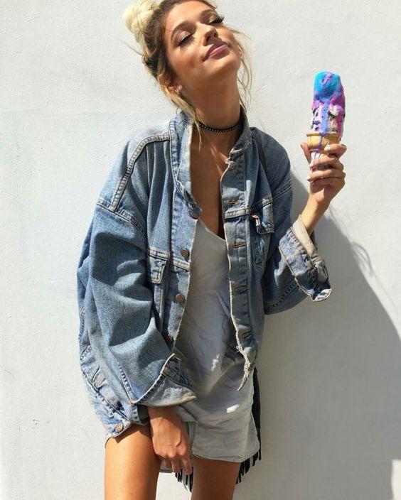Pinterest: Brunettetwin98 Instagram: jennykwhite | l o o k b o o k |  Pinterest | Instagram, Oversized denim jacket and Denim jackets
